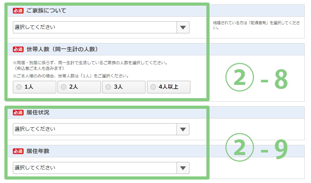 Screenshot of the Japanese application form