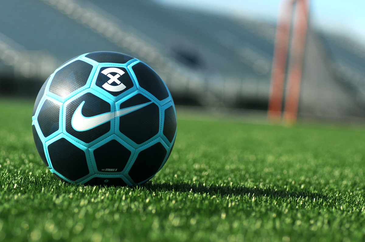 Soccer ball on field.