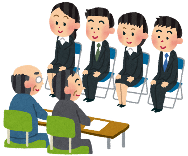 Candidates at group interview.