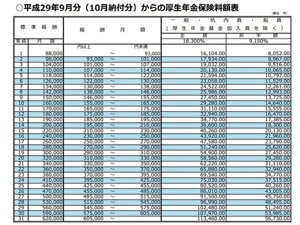 Japanese pension insurance chart.