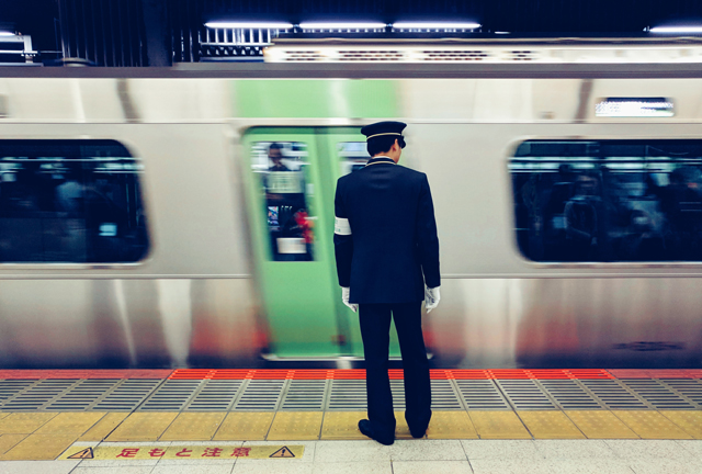 Commuter train at station in Japan