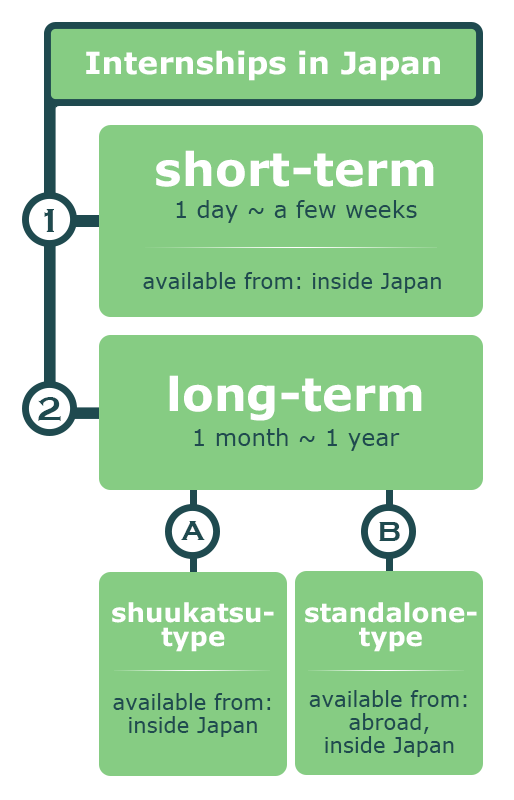 Overview of internship types in Japan.