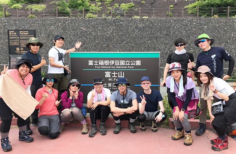Zenken employees on their way to the top of Mt. Fuji.
