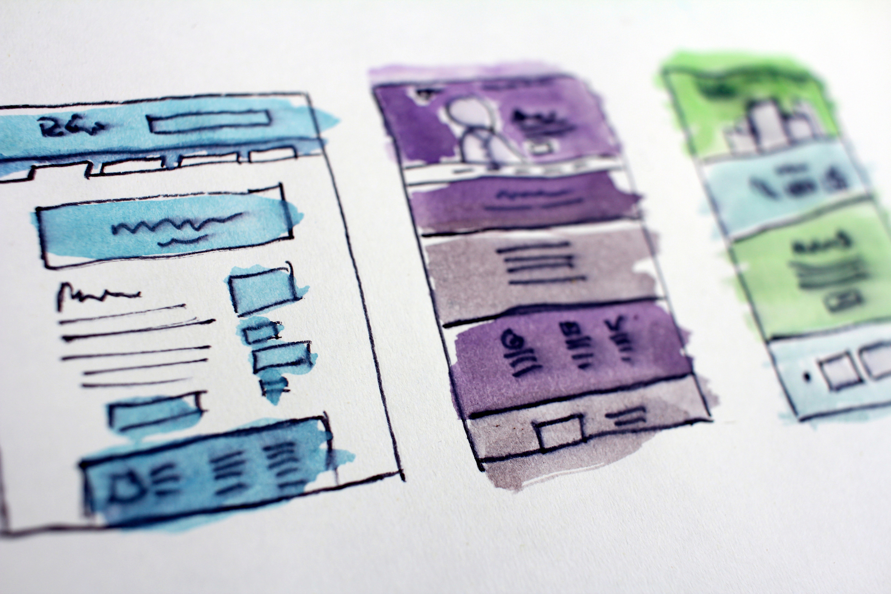 A set of simple wireframes.
