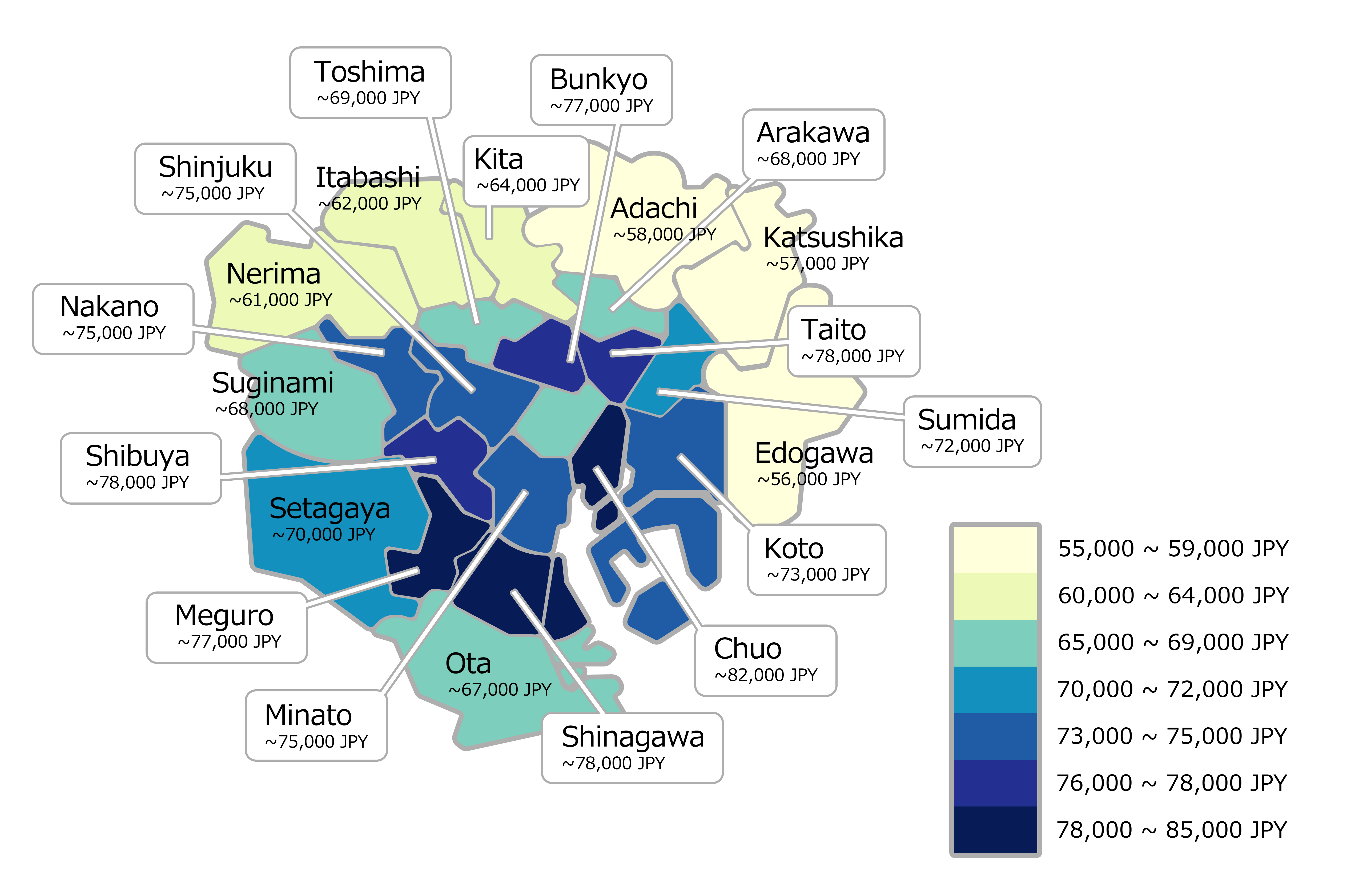 Map of Tokyo's 23 wards and average rent costs per ward.