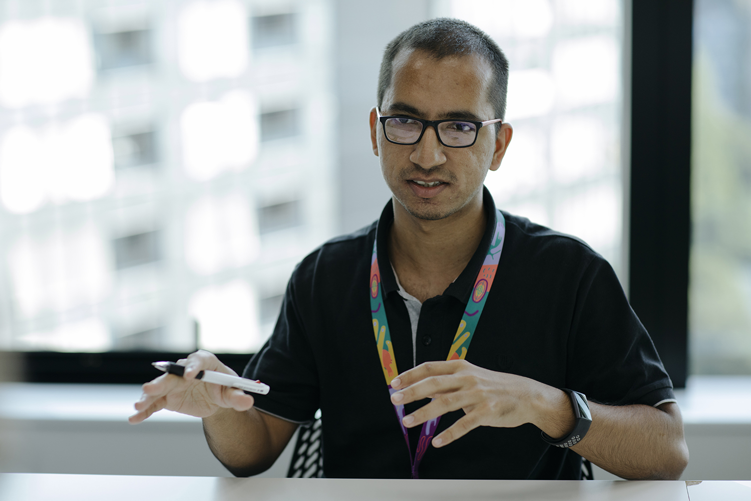 Mushtaq during the interview.