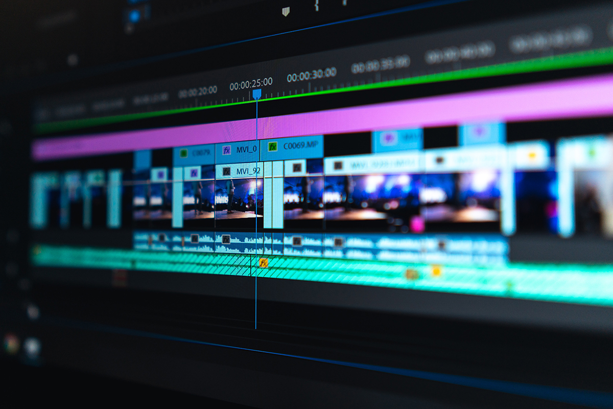 Video editing in Adobe Premiere Pro.